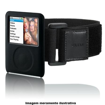 Capa de Silicone Preta com Braçadeira para iPod Nano 3G - Belkin - F8Z214