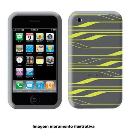 Capa em Silicone Cinza e Amarela para iPhone 3ª Geração - Belkin - F8Z342GGF, Cinza, 06 meses