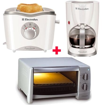 Mini Forno Elétrico Cuisine 9L + Cafeteira Boun Giorno Branca + Torradeira Boun Giorno Branca - Electrolux - CJCOZINHA, 110V