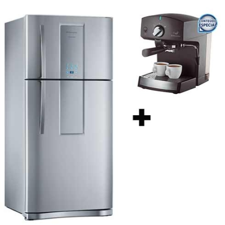 Refrigerador 2 Portas 553L Frost Free / Sistema Multiflow / Painel Blue Touch / Inox - Infinity Electrolux + Cafeteira Espresso, 110V, LB