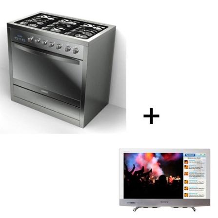Fogão de Piso Electrolux  + TV LED Sony Bravia, 220V, Grill, Piso, a Gás, 05 Bocas, Superautomático, Sim, 01, 105 L, GLP (conversivel para GN), Inox, 01 ano