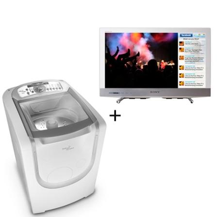 Lavadora e Secadora de Roupa + TV LED Sony, 110V, LB
