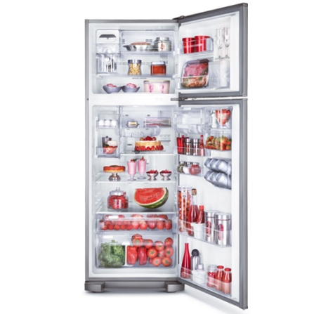Refrigerador 2 Portas 428L Frost Free Electrolux, 110V, 220V, De 351 a 500 litros, 02 Portas, 02 Portas, Sim, 428 Litros, 110 Litros, 318 Litros, Sim, 62 kWh/mês, Inox, 01 ano