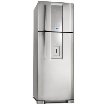 Refrigerador 2 Portas 441L Inox Electrloux, 110V, 220V, De 351 a 500 litros, 02 Portas, 02 Portas, Sim, 441 Litros, 113 Litros, 328 Litros, Sim, 59 kWh/mês, Inox, 01 ano