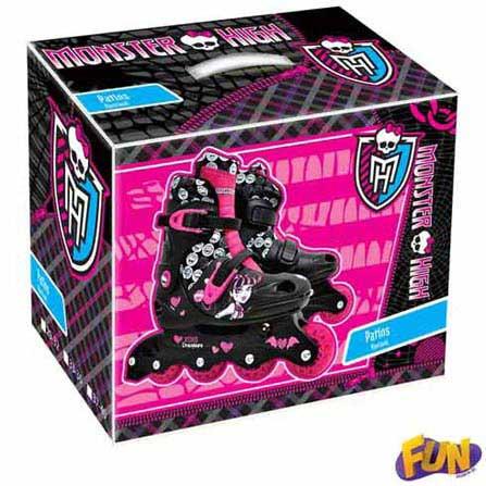 Patins Ajustáveis Monster High Tamanho 33 ao 36 com Acessórios, BQ, Polipropileno, 3 meses