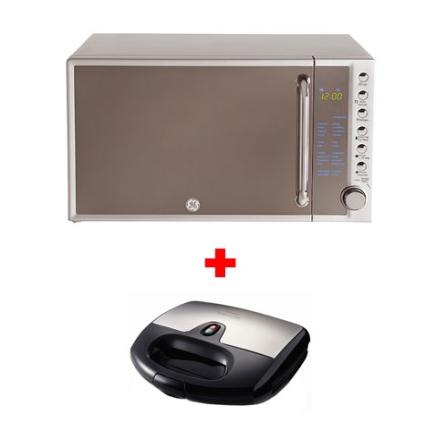 (Ver Separados) Forno de Microondas 20L Espelho - GE + Grill Panini / Tamanho Compacto / Preto - Walita - CJ20_RI2386, 110V, LB