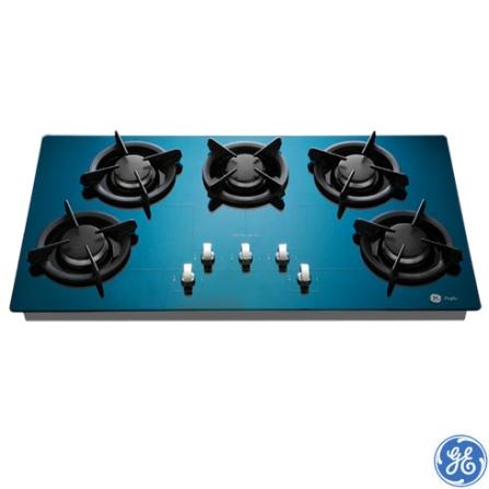 Cooktop 5 Bocas Gás Inox com Vidro Azul - Metal Blau GE - GEPG9005ZU0, Inox, Gás, 05 Bocas, Superautomático