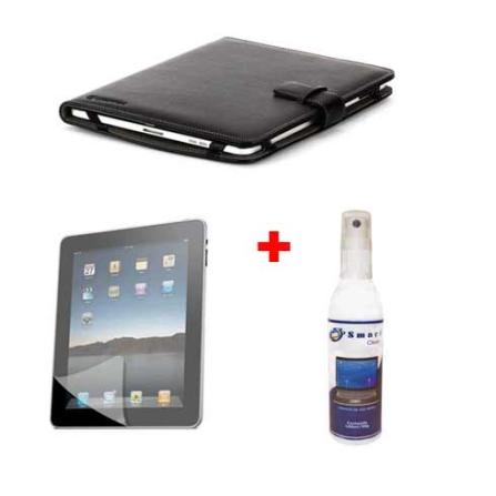 Capa Folio Preto para iPad - Griffin -  GFGB01550 + Protetor de Tela Fosco para iPad - Mobimax -  MMIPADMTF1 + Limpador para Ele