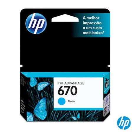 Cartucho de Tinta HP 670 Ciano, Não se aplica, Cartuchos