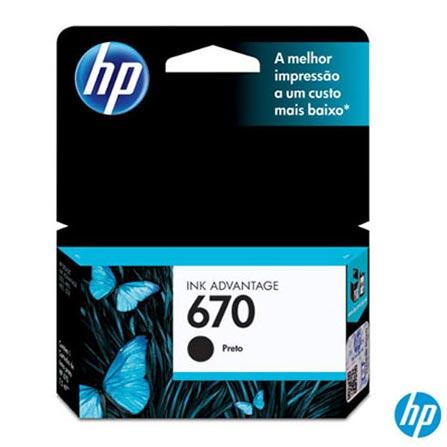 Cartucho de Tinta HP 670 para HP Deskjet Ink Advantage: 3525, 4615, 4625 e 5525 Preta, Não se aplica, Cartuchos