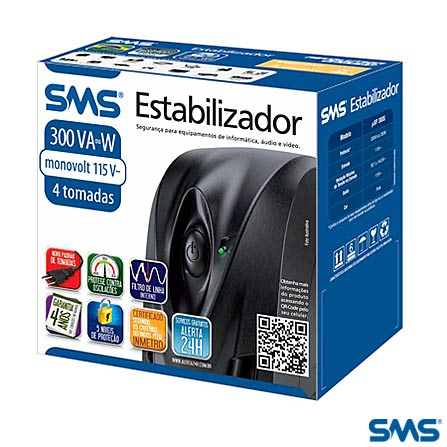 Estabilizador Preto Progressive III 2000 Bivolt - SMS - 16218