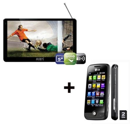 GPS D500 TV Digital Airis + Celular S290 Cookie LG