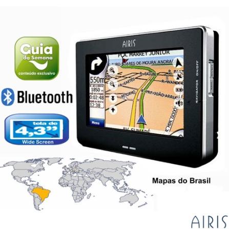 Navegador GPS T940 com Conteudo Brasileiro / Conteudo Guia da Semana e Bluetooth - Airis - GPST940BR, Bivolt, Bivolt, Preto e Prata