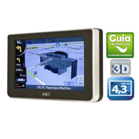 (IFGPST945) Navegador GPS T945 com 1261 Cidades Navegáveis / Mapas e Pontos Turísticos em 3D / Tela Touch Screen com 4.3