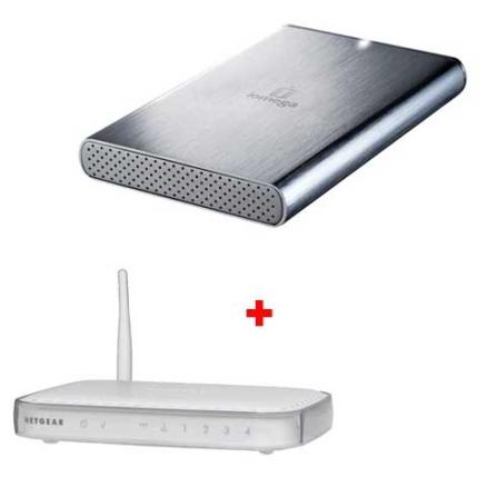HD Externo Portátil com 250 GB / Aço Escovado - Iomega - 34277 + Roteador Wireless padrão IEEE 802.1g (54Mbps) / 4 Porta