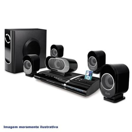 Dock para iPod com Home Theater / Sistema de 5.1 canais / Subwoofer incluso / Preto - iLuv - I1277