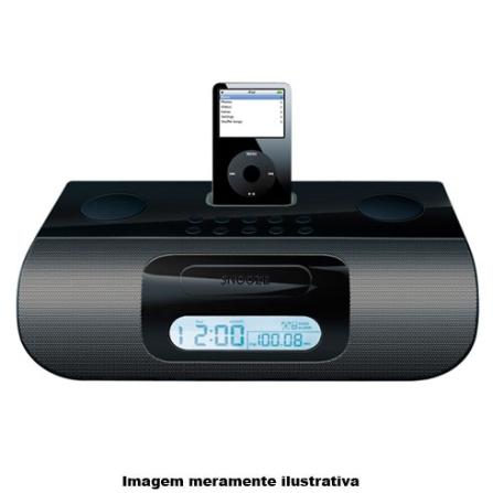 Rádio Relógio com Estação para iPod / Desperta com iPod ou Rádio AM/FM / Saída Auxiliar para Assistir Vídeos na TV / Pre, 110V