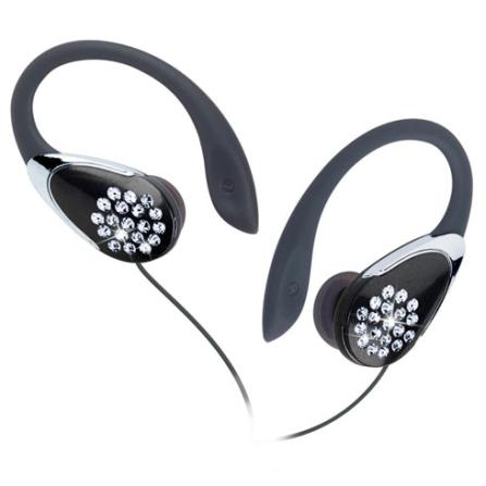 Fone de ouvido para iPod com clip auricular e strass Preto - iLuv - I84PT
