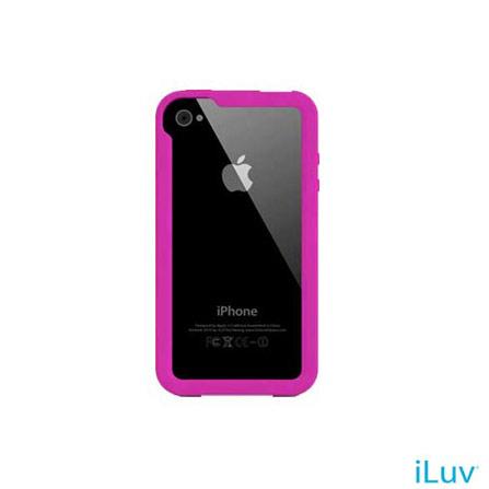 Capa Emborrachada Rosa para iPhone 4 iluv, Rosa, 06 meses