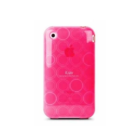 Capa de Plástico Flexível Rosa com Desenhos em Círculos para iPhone 3G e 3GS + 1 Película Protetora - iLuv - IVICC77PNK, Rosa, 06 meses