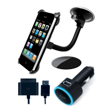 Kit Veicular para Carregar  iPhone/iPod ou Outros Dispositivos USB / Preto - iLuv - ICC781