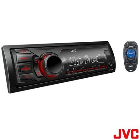Reciever Automotivo JVC KD-X200 com Entradas USB e AUX Frontais, Rádio com RDS, MOS-FET 20W RMS x 4, Controle de iPod/iP