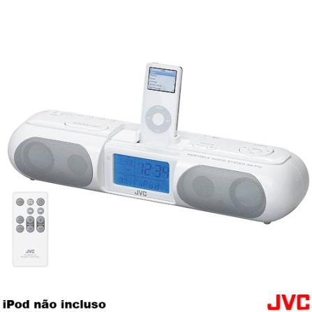 Rádio Relógio para iPod com Dock / FM / Despertador e Controle Remoto - JVC - RAP10