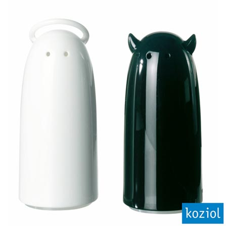 Saleiro e Pimenteiro Shaker com Especiarias Koziol Branco / Preto - 3109001