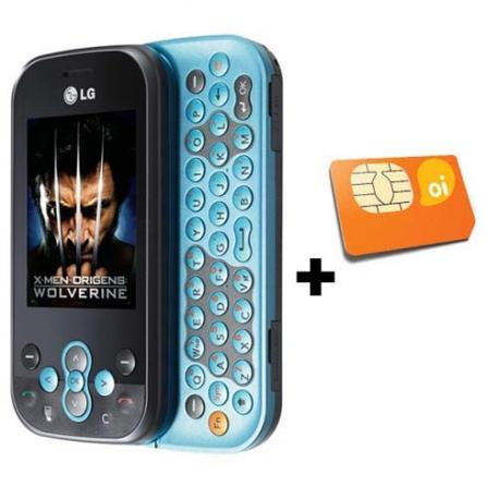 Celular GSM GT360 Messenger Preto e Azul com Conteúdo do Filme X-Men Origins: Wolverine / Câmera de 2.0MP / MP3 Player /