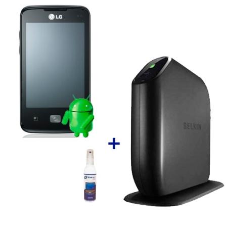 Smartphone LG E510 + Roteador + Limpador