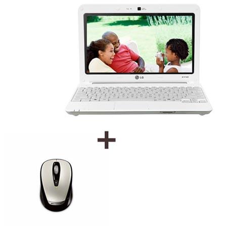 Netbook Atom N470 + mouse sem fio
