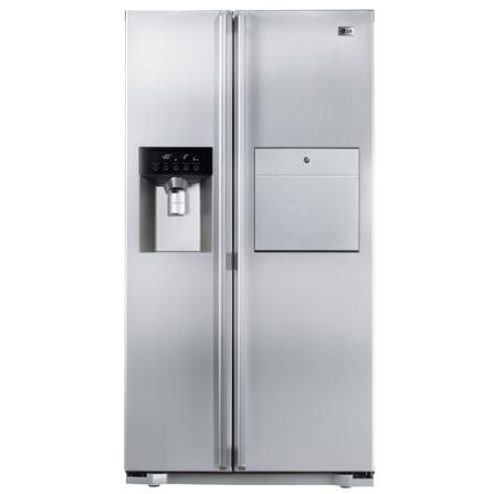 Refrigerador Side by Side 498L c/ Home Bar LG, 110V, 220V, Aço Escovado, De 351 a 500 litros, 498 Litros, 150 Litros, 348 Litros, Classe A, 71 kWh/mês, Sim, Sim, Sim, 12 meses, 02 Portas, Side by Side