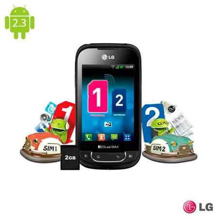 Smartphone Optimus Dual Chip 3G Câmera 3.2MP - LG, Bivolt, Bivolt, Preto, 3.2'', False, 1, N, True, True, False, True, True, True, I, 12 meses, Micro Chip