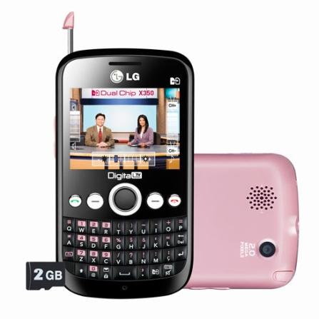 Celular Dual Chip LG X350 Rosa com TV Digital