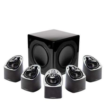 Conjunto de Caixas Acústicas 5.1 Canais com 700W RMS / Tecnologia Ribbed Elliptical Surround / Preta - Mirage - MX51