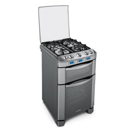 Fogão de Piso 4 Bocas Multi Chefe / Controle Digital LCD / Grill / Multi Fornos / Inox - Mabe - 004PMHDA, 220V, Grill, Piso, Elétrico e a Gás, 04 Bocas, Superautomático, 02, Sim, 77,4 L (a gás) e 29,8 L (elétrico), Inox, 01 ano