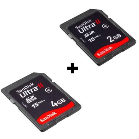(Fim promo 14/06/09) Cartão de Memória SD Ultra II 4GB + Cartão de Memória SD Ultra II 2GB - SanDisk -  CJSD4GBU_SD2
