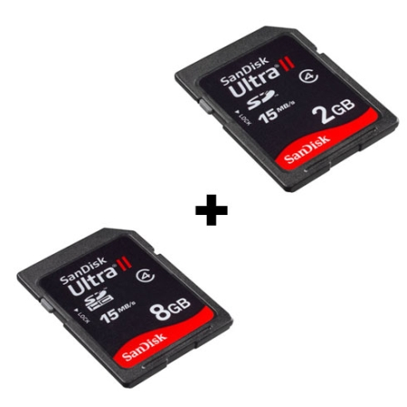 (Fim promo 14/06/09) Cartão de Memória SD Ultra II 8GB + Cartão de Memória SD Ultra II 2GB - SanDisk - CJSD8GB_SD2G