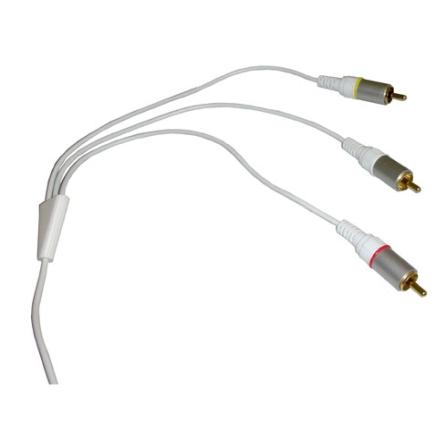 Cabo de Áudio e Vídeo para iPod 3ª Geração / Branco - Mobimax - MMCBAV