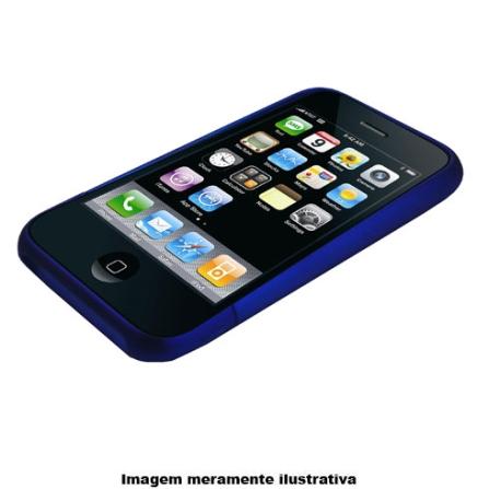 Capa em Policarbonato Emborrachada Azul para iPhone 3ª Geração - Mobimax - MPUIPHBL, Azul, 12 meses