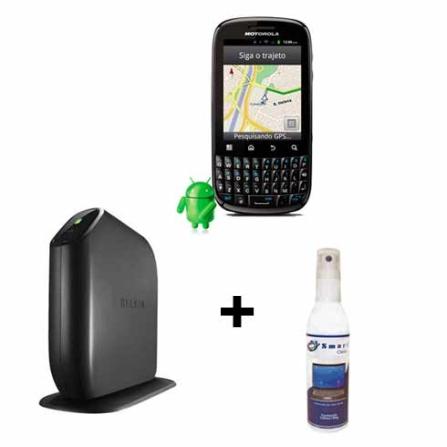Smartphone Motorola Spice Key + Roteador+ Limpador