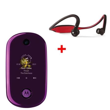 Celular GSM U9 Rokr Purple com MP3 Player / Bluetooth Estéreo / Câmera 2.0 Megapixel + Fone de Ouvido Bluetooth Estéreo