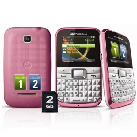 Celular Motorola Motokey Dual Chip Mini EX109 Rosa com Acesso as Redes Sociais,Teclado QWERTY, Display de 2