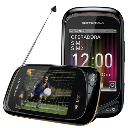 Celular Motorola Dual Chip com TV Digital, Bivolt, Bivolt, Preto e Laranja, 0, True, 1, N, False, False, False, False, False, False, I, 12 meses, Micro Chip