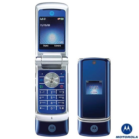 Celular GSM KRZR K1 Azul com Câmera de 2.0MP, MP3 Player e Cartão de Memória 512MB - Motorola