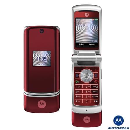 Celular GSM KRZR K1 Vermelho com Câmera de 2.0MP / MP3 Player / Cartão de Memória 128MB / Bluetooth - Motorola