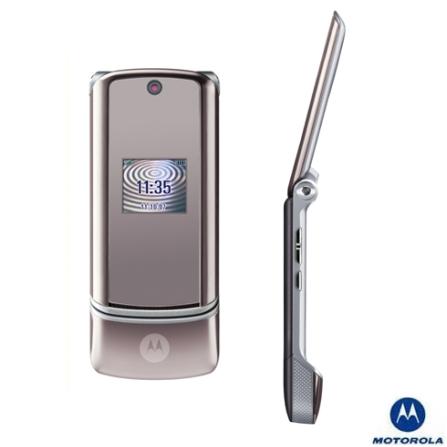 Celular GSM KRZR K1 Prata com Câmera de 2.0MP / MP3 Player / Cartão de Memória 256MB / Bluetooth - Motorola