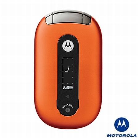 Celular GSM U6 Pebl Laranja com Câmera VGA / Fone de Ouvido Bluetooth / Toques MP3 - Motorola
