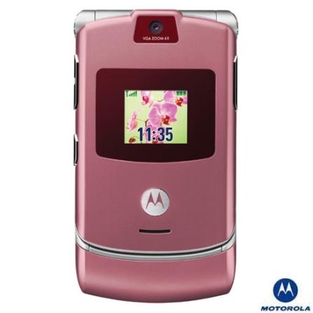 Celular GSM V3 Rose Gelato com Câmera VGA / Toques MP3 / Reprodução de Vídeo / Bluetooth - Motorola, Bivolt, Bivolt, Rosa, 0, True, 1, N, False, False, False, False, False, False, I, 12 meses, Micro Chip