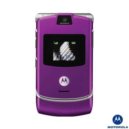 Celular GSM V3 Roxo Motorola com Câmera VGA / Toques MP3 / Reprodução e Captura de Vídeo MPEG4